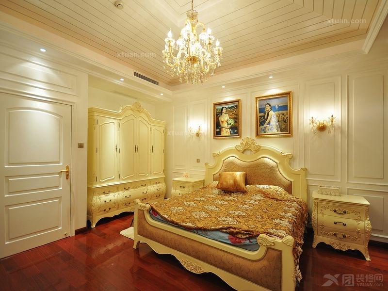 别墅欧式风格卧室_阿凯迪亚庄园别墅装修效果图-x团