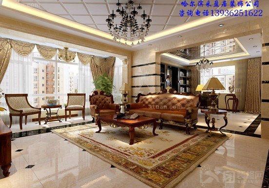 与红胡桃木搭配的沙发和电视柜;墙面银丝米黄理石