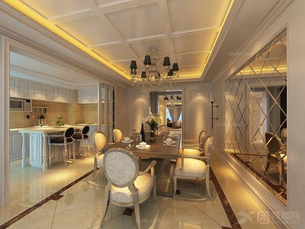 三居室欧式风格餐厅_奢华公寓系列之法式新古典