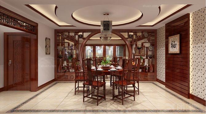 四居室中式风格餐厅客厅隔断