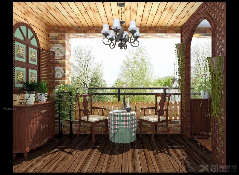 复式楼现代风格阳台花园入户花园_五山花园装修效果图图片