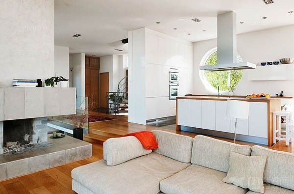 海景别墅现代简约客厅_保利康桥参考:很温馨很平淡 休闲亲和的家居