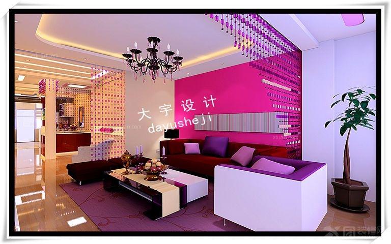 两室两厅时尚风格客厅沙发背景墙_万盛中央一品