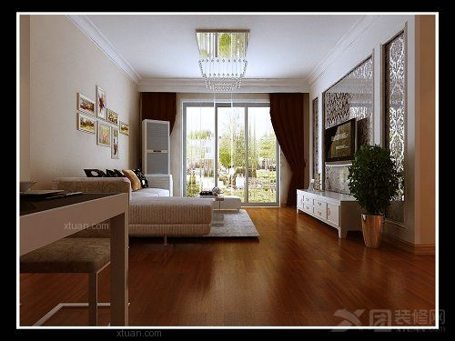 电视背景墙采用玻璃边框加上现代个性风格木工板收边搭配.