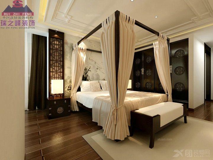 三室两厅中式风格卧室_中粮龙玺壹号装修效果图-x团图片