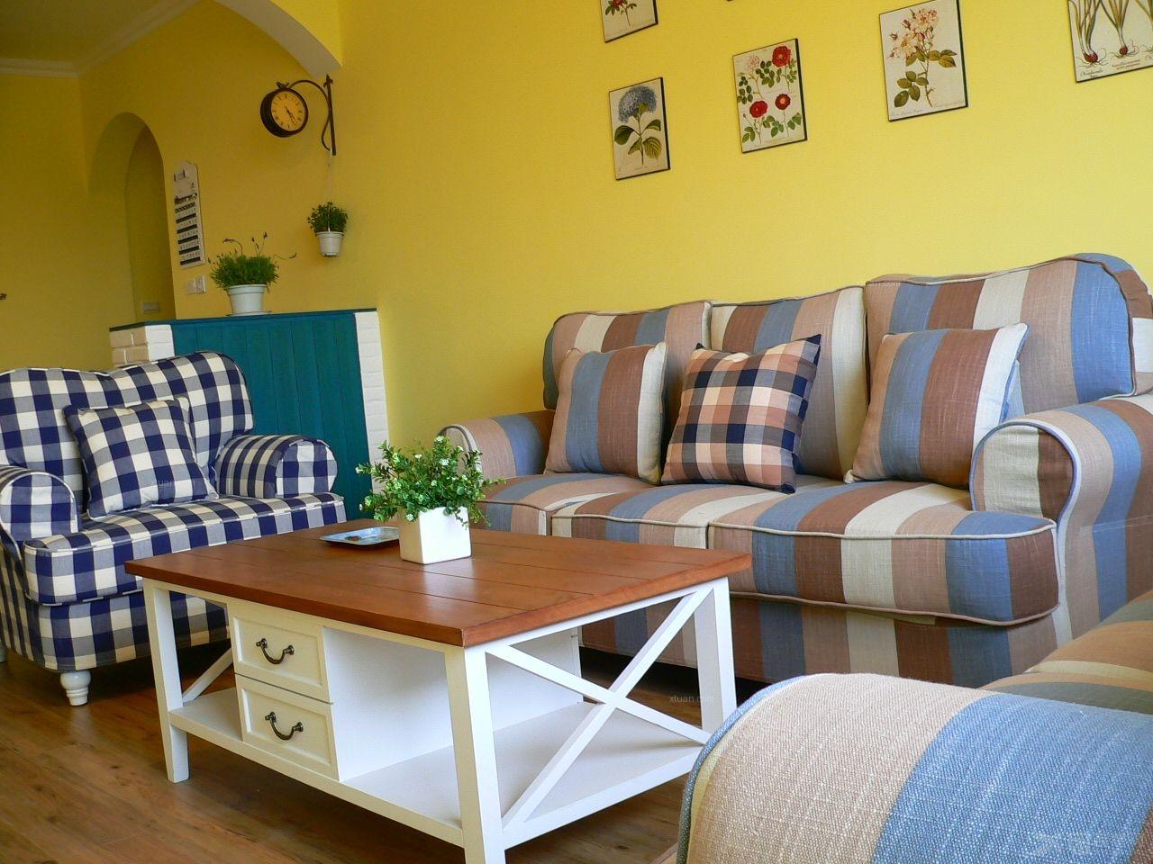 地中海沙发 北欧 美式乡村 韩式田园亚麻布料 条纹格 混搭装修效果图图片