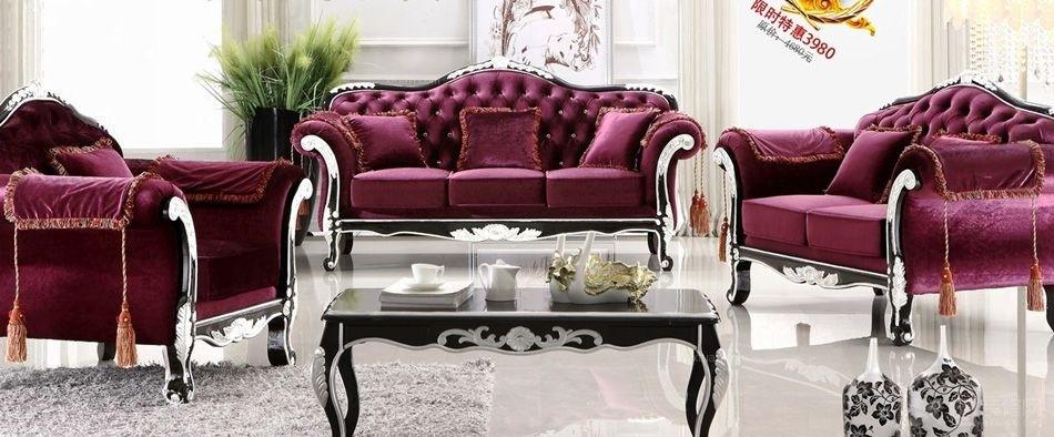 欧式小款U户型沙发拉钻蓝色布艺可定