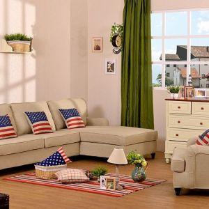 北欧英伦风格 法式田园 转角布艺沙发 简约亚麻布料