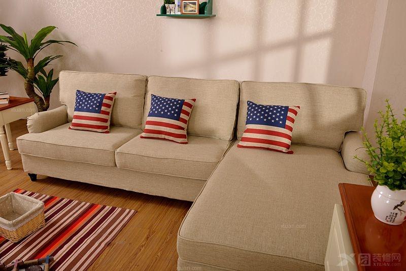 北欧英伦风格 法式田园 转角布艺沙发 简约亚麻布料装修效果图