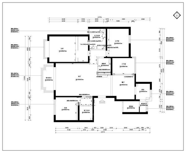 三居室中式风格案例装修效果图 南宁半岛半山别墅 半岛半山380平米