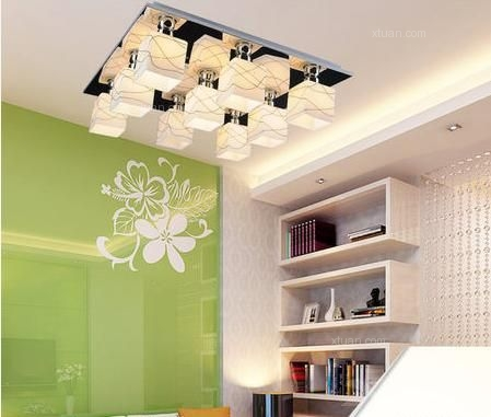 现代客厅吸顶灯艺术玻璃