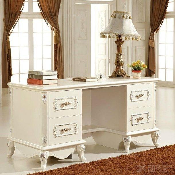 特价★欧式实木雕花 白色书桌办公桌 书房家具 欧式家具