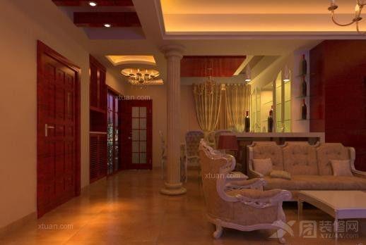 客厅背景墙的设计,运用软包,实木线条,罗马柱等素材,将现代欧式风格