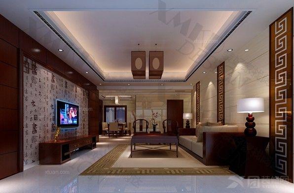 三室两厅中式风格客厅圆形吊顶_水湾清城装修效果图-x图片