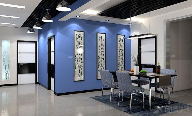 四居室现代简约餐厅墙绘