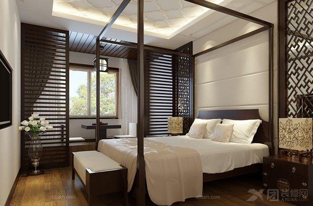 三室两厅中式风格卧室_龙熙半岛中式装修效果图-x团图片
