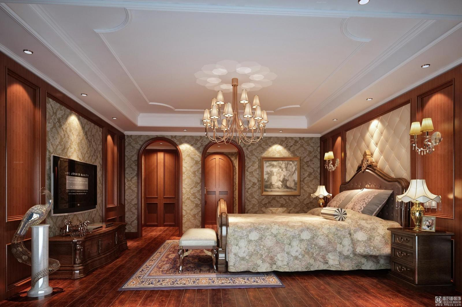 实木衣柜实木床装修效果图  户型:三居室 房间:卧室 风格:简欧风格 装