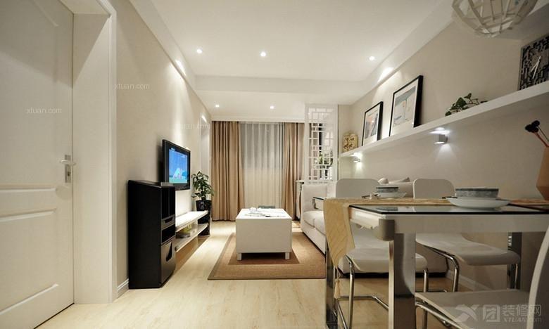 居室简欧风格 70平 宁静的 小三房装修效果图高清图片