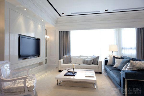 大户型简欧风格客厅电视背景墙