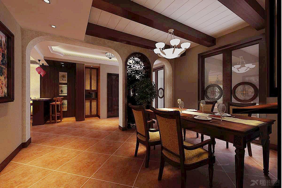 三居室美式风格餐厅_华侨城图片
