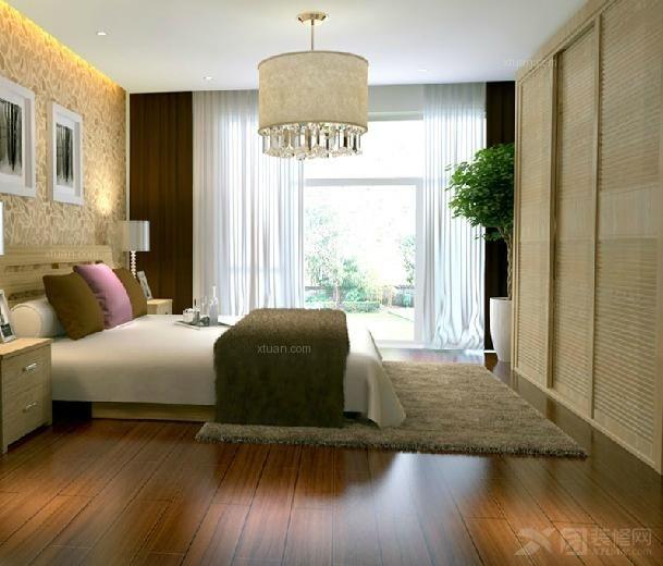 卧室套房家具 两门滑门木质衣柜 1.5米双人木床 婚床
