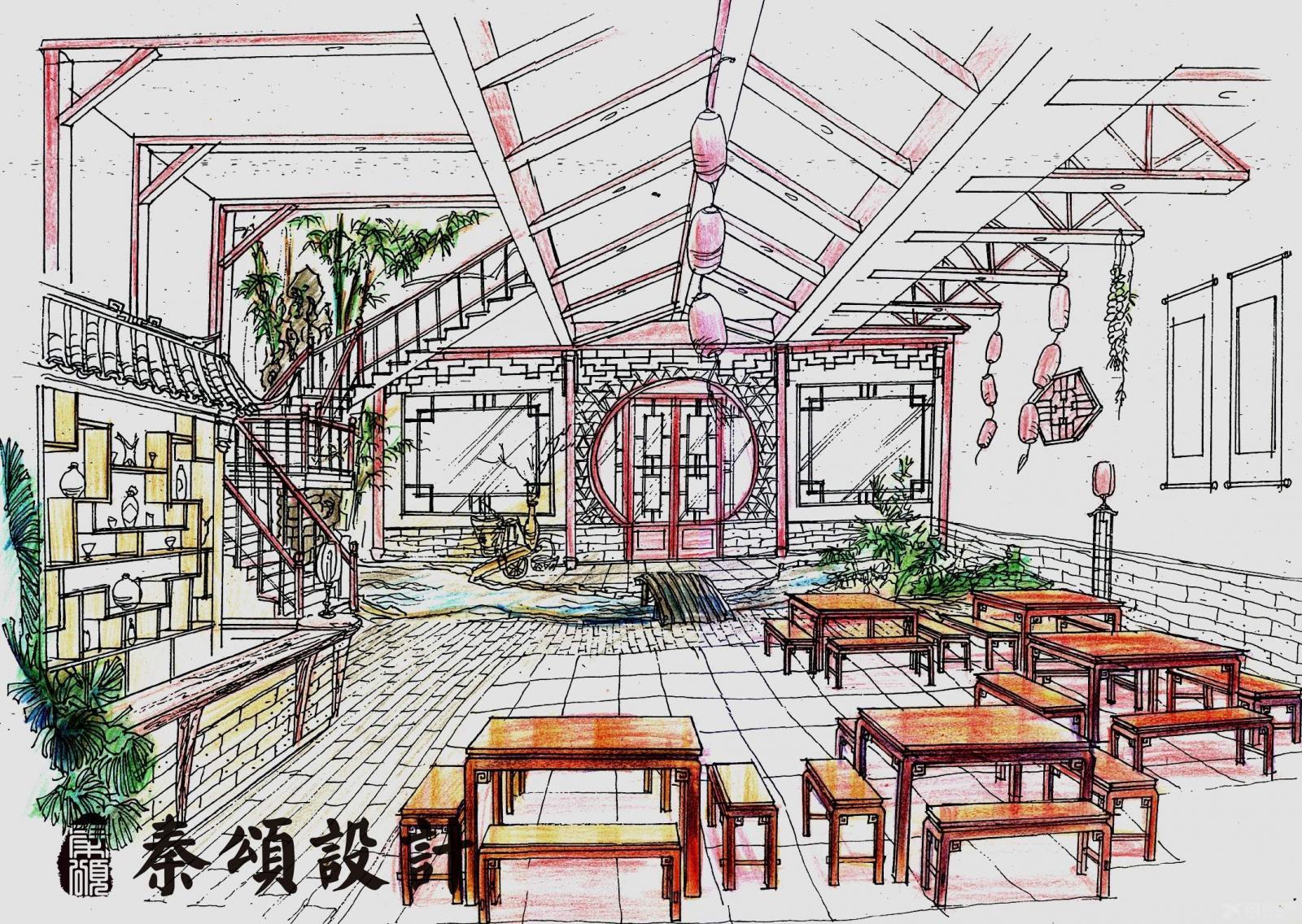 中式餐饮手绘线稿