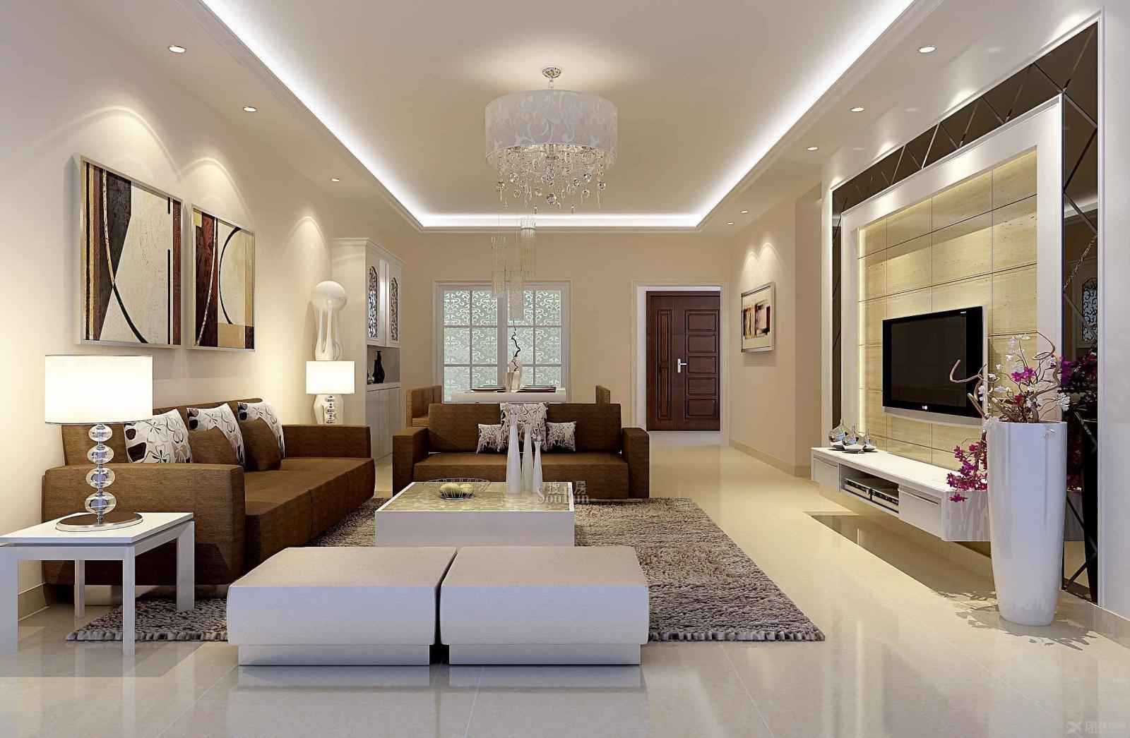 现代简约客厅装修效果图-x团装修网