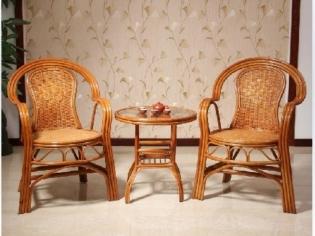 藤椅子茶几三件套
