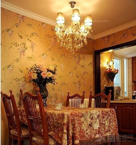 130平米美式乡村风格客厅实木电视柜餐厅吊顶灯设计装修效果图