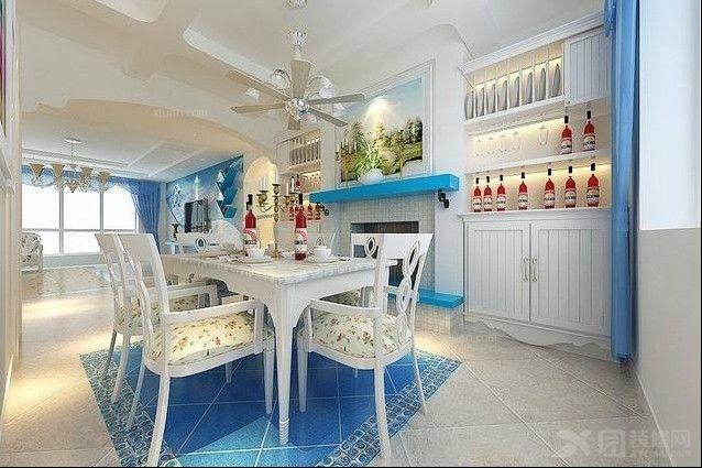 三室两厅地中海风格餐厅开放式厨房_中海国际社区图片