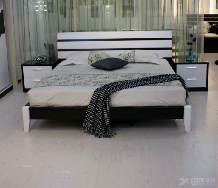 布维 板式 北欧式宜家黑白现代简约 1.51.8米板式床 婚