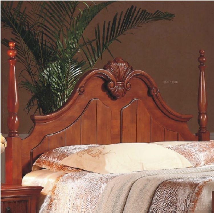 森美蒂亚 纯实木美式实木床 1.8米双人床 欧式床 高柱床