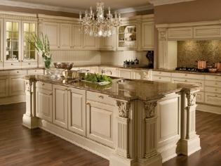 鑫诺伟天 欧式宫廷风格整体橱柜定做 厨房红樱桃实木岛台厨柜定