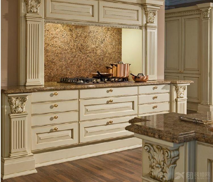 鑫诺伟天 欧式宫廷风格整体橱柜定做 厨房红樱桃实木岛台厨柜定装修