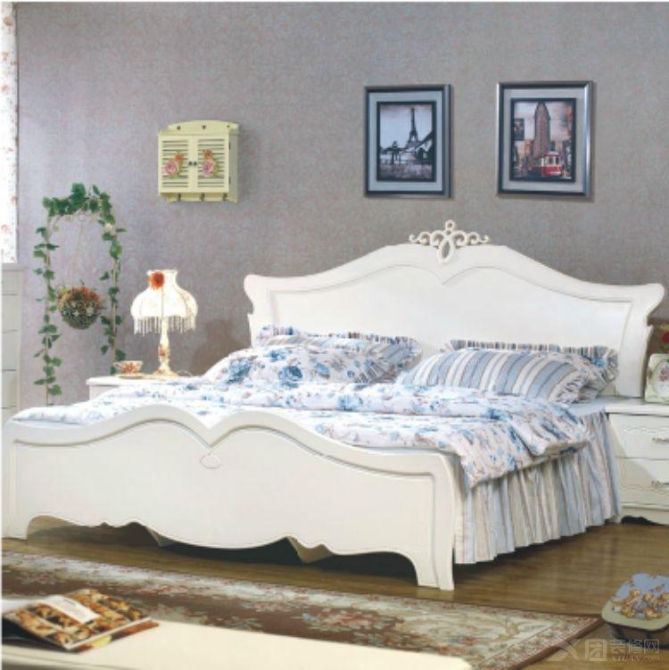 霖越家具 韩式田园床双人床欧式1.8米大床法式白色