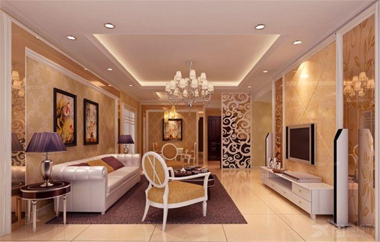 三居室欧式风格客厅电视背景墙_轩宇公寓图片
