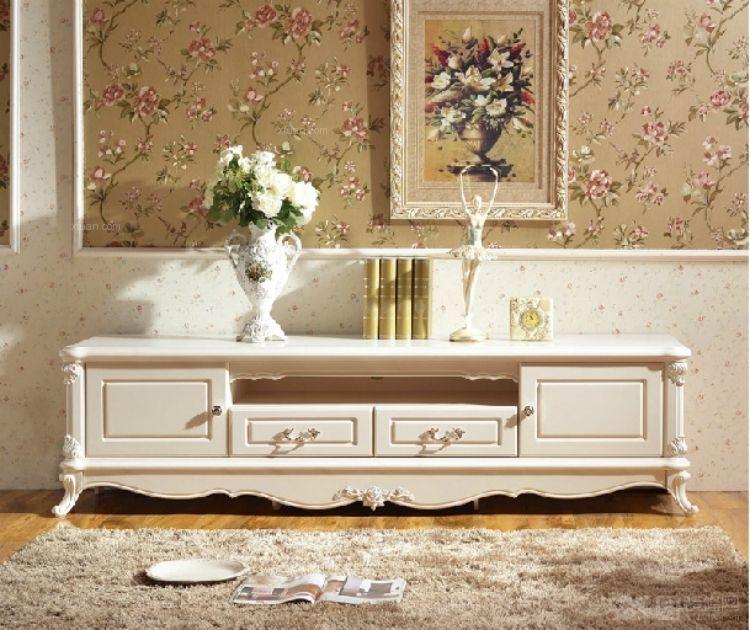 欧式电视柜 田园地柜 玫瑰雕花描银 简约卧室客厅组合柜