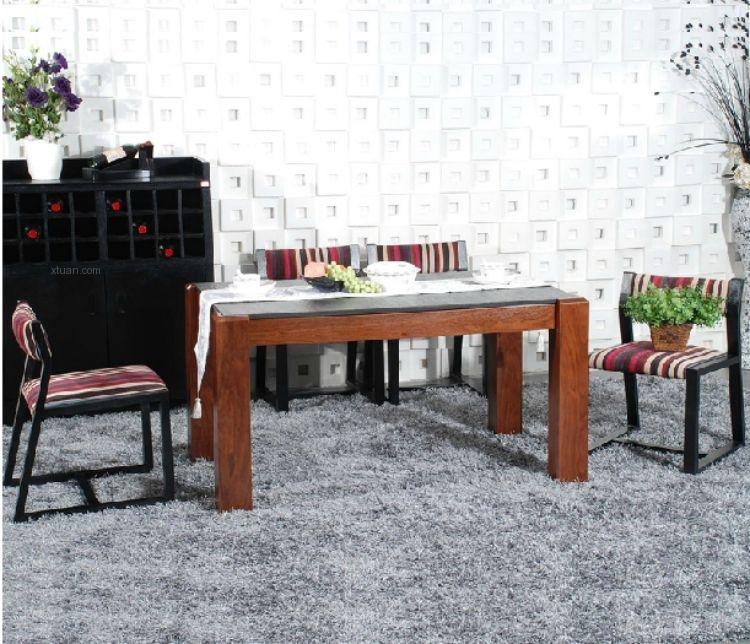 文化龙楷模风格 火烧石餐桌椅组合 玄武石实木 水曲柳WL51