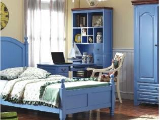 【臻艾美家】地中海美式家具实木儿童书柜书桌带书架转角书桌包邮