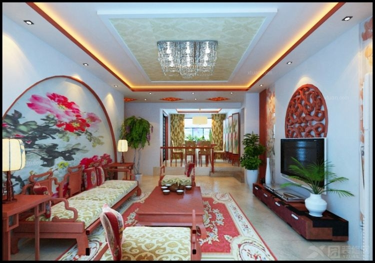 两居室中式风格_桓台鸿嘉星城