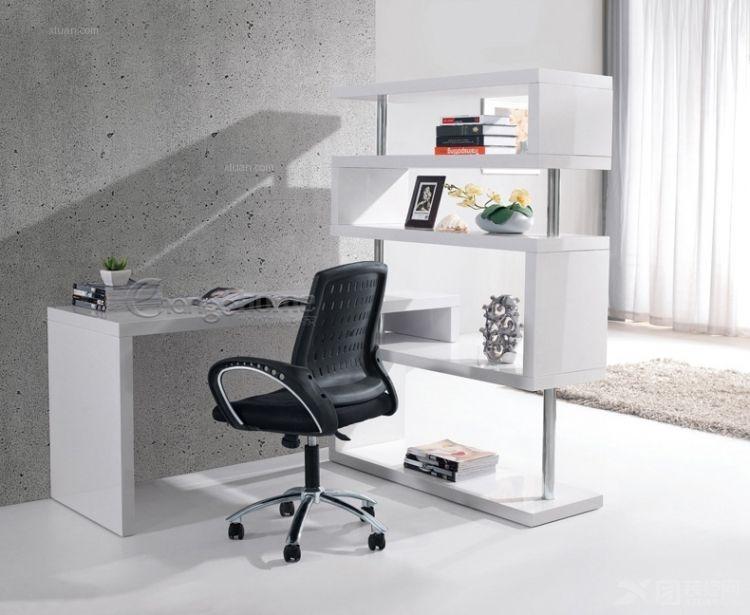 可旋转钢琴烤漆亮光白书桌带书架