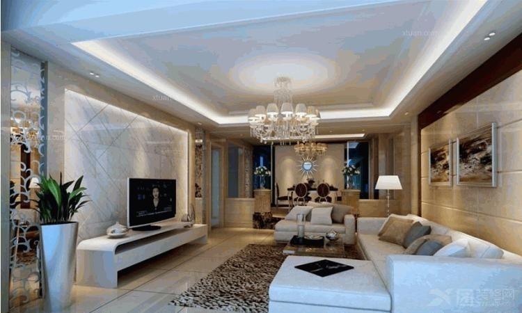 两居室现代风格客厅软装_新商城·北欧春天装修效果图图片