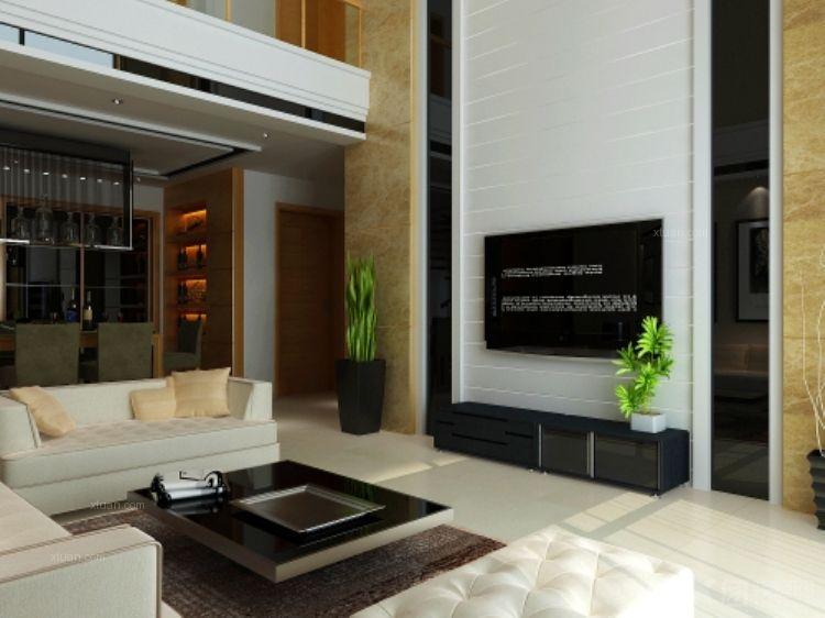 复式楼现代简约客厅电视背景墙_和一花园