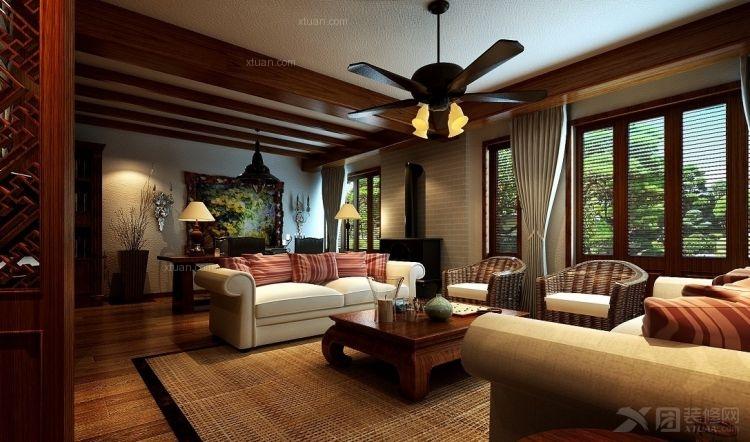 四居室东南亚风格客厅_东南亚风格壁纸