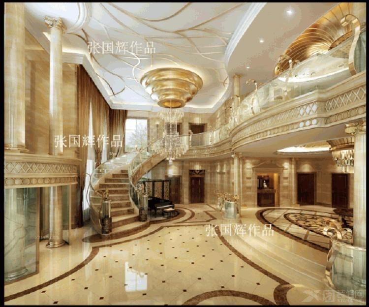 欧式奢华风格独栋别墅设计案例装修效果图图片