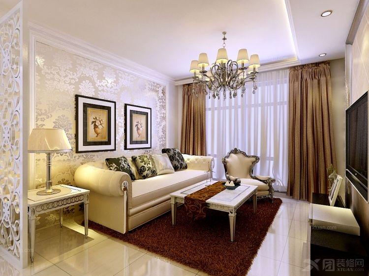 三室一厅现代简约客厅_浦江颐城晶寓三房现代简约装修