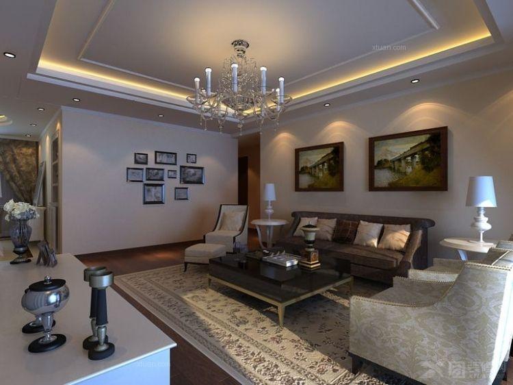 电视背景墙用壁纸简单点缀,结合美式木框刷浅银灰色混油漆面;餐厅铺上