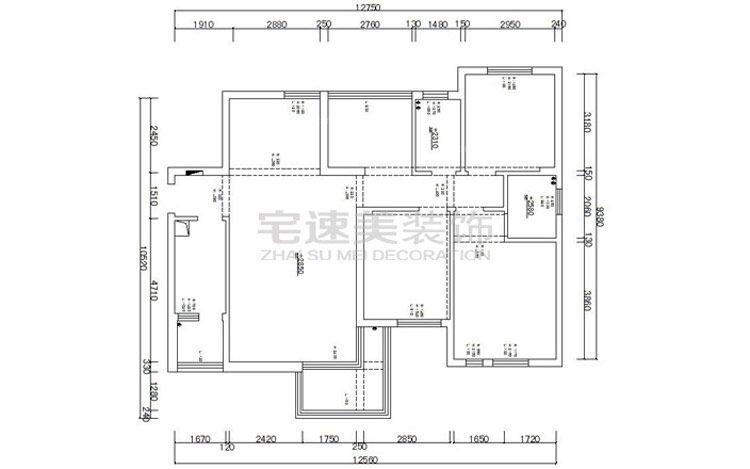 设计理念:原始结构图 户型:两室两厅 风格:简欧风格 装修类型:家装