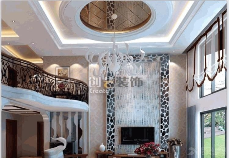 复式楼现代简约客厅电视背景墙_龙湖紫都城|159平米|复式|现代简约图片