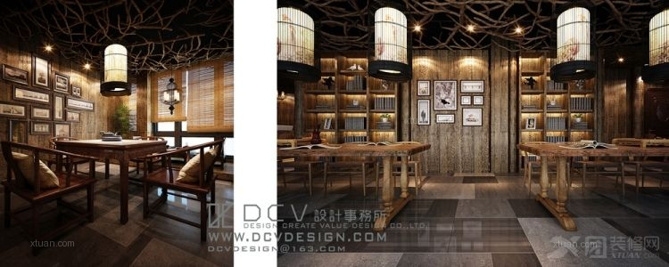 中式风格_西安休闲会所室内设计—泾阳德林主题餐厅 茶秀棋牌 复古